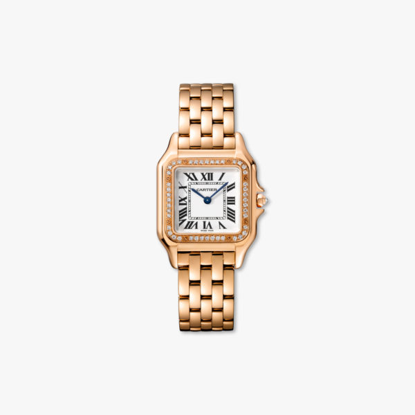 Diamond-set quartz watch, medium model, rose gold