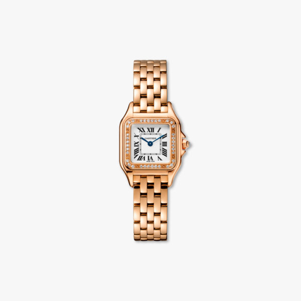 Diamond-set quartz watch, small model, rose gold