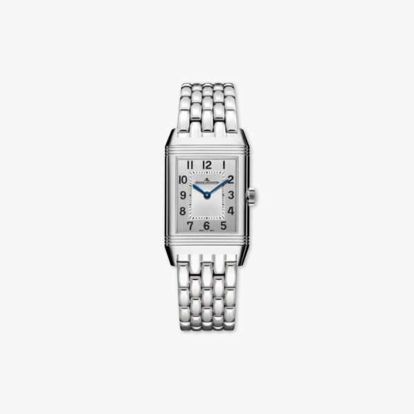 Reverso Classic Medium Duetto in stainless steel, set with diamonds