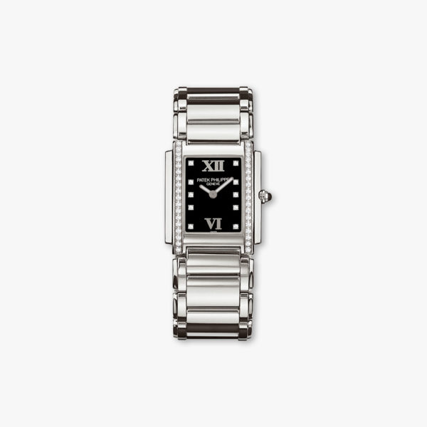 Twenty-4 in stainless steel, set with diamonds