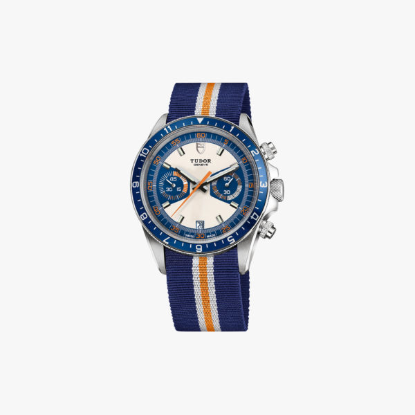 Montre Tudor Heritage Chrono Blue M70330B Acier Opal Blue Fabric Blue Grey Orange Maison De Greef 1848