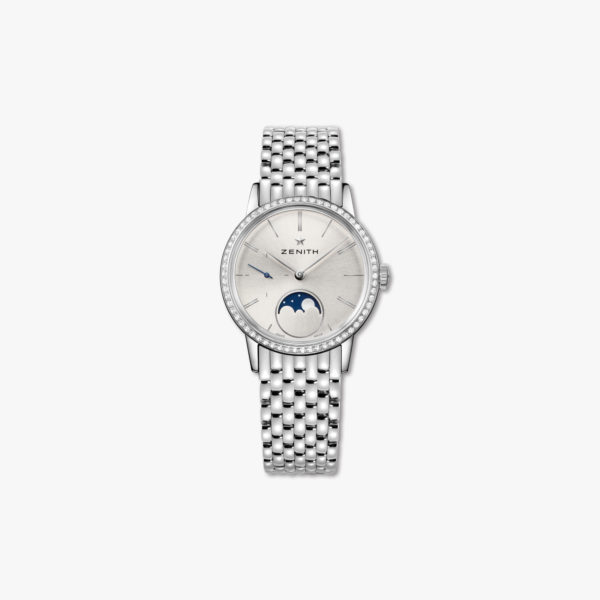Montre Zenith Elite Lady Moonphase 33 16 2330 692 01 M2330 Acier Diamants Maison De Greef 1848