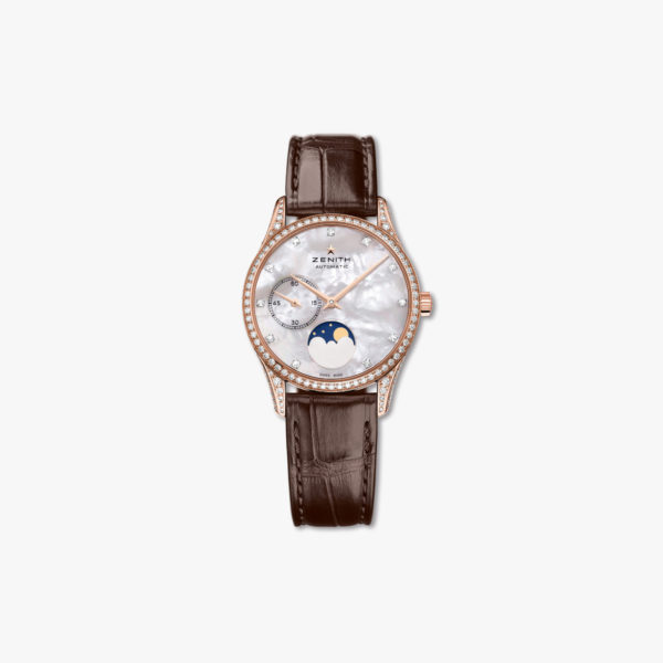 Montre Zenith Elite Lady Moonphase 33 22 2312 692 81 C713 Or Rose Diamants Nacre Maison De Greef 1848