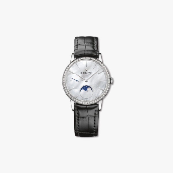 Montre Zenith Elite Lady Moonphase 36 16 2320 692 80 C714 Acier Diamants Nacre Maison De Greef 1848