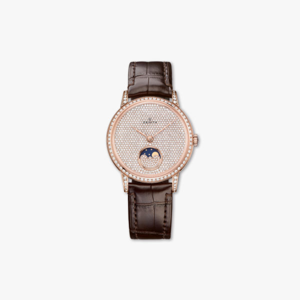 Montre Zenith Elite Lady Moonphase 36 22 2320 690 79 C713 Or Rose Diamants Maison De Greef 1848