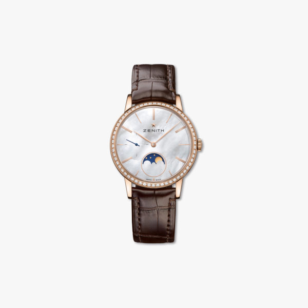 Montre Zenith Elite Lady Moonphase 36 22 2320 692 80 C713 Or Rose Diamants Nacre Maison De Greef 1848