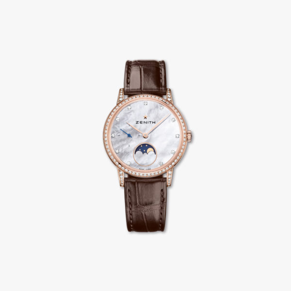 Montre Zenith Elite Lady Moonphase 36 22 2321 692 82 C713 Or Rose Diamants Nacre Maison De Greef 1848