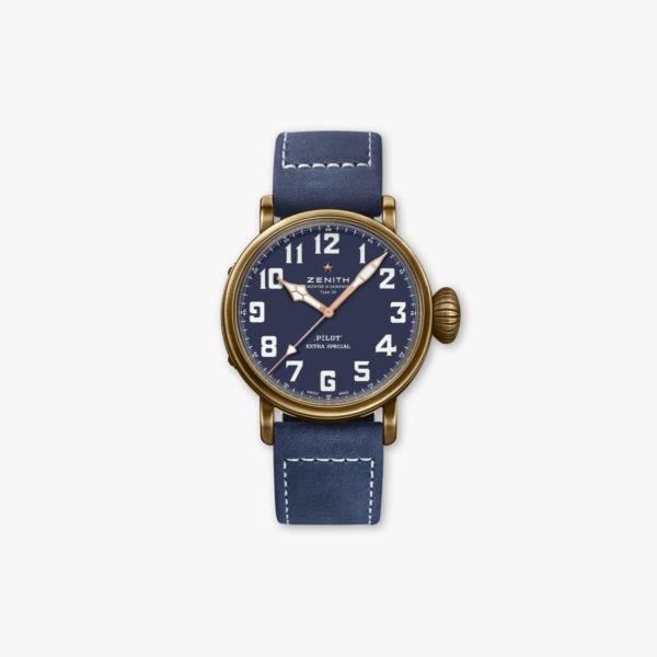 Uurwerk Zenith Pilot 20 Extra Special 29 2430 679 57 C808 Brons Blauw Maison De Greef 1848