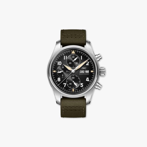 Uurwerk Iwc Pilots Watches Spitfire Chronograph Iw387901 Staal Zwart Maison De Greef 1848