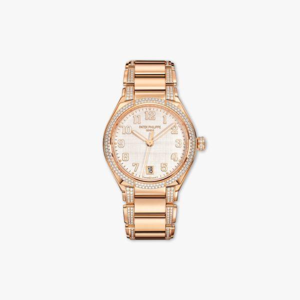 Uurwerk Patek Philippe Twenty 4 7300 1201 R 001 Rose Goud Diamanten Zijde Beige Maison De Greef 1848