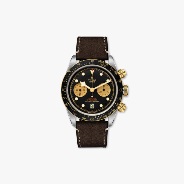 Uurwerk Tudor Black Bay Chrono Steel Gold M79363 N 0002 Chronograaf Zwart Champagne Staal Geel Goud Leder Maison De Greef 1848