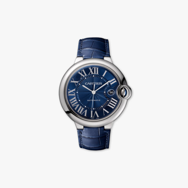 Watch Cartier Ballon Bleu Large Model Wsbb0025 Steel Blue Leather Maison De Greef 1848