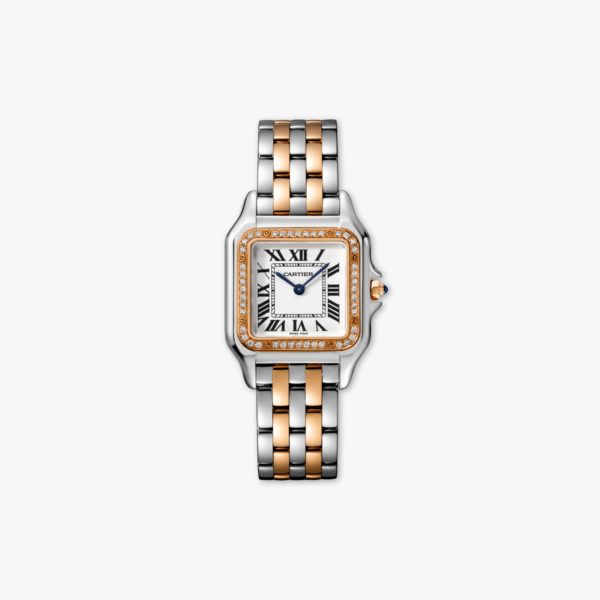 Panthère de Cartier Medium Model in stainless steel and rose gold, set with diamonds