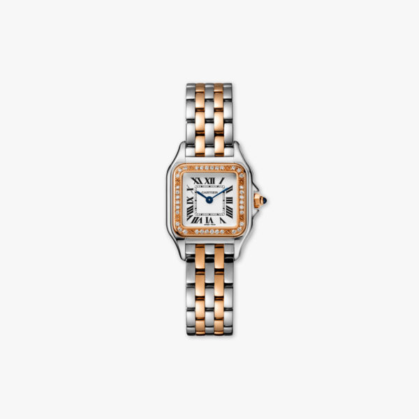 Panthère de Cartier Small Model in stainless steel and rose gold, set with diamonds
