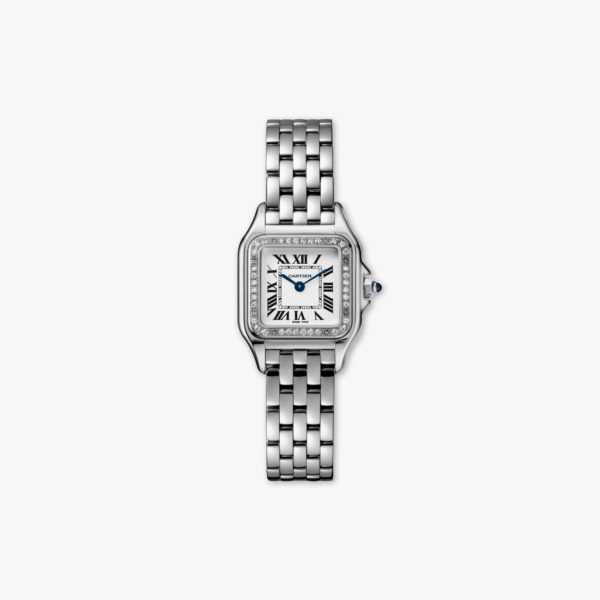 Panthère de Cartier Small Model in stainless steel, set with diamonds