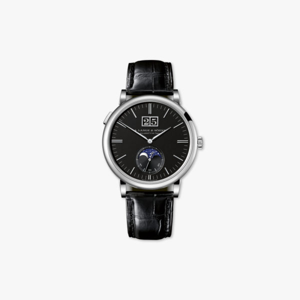 Watch Lange Sohne Saxonia Moon Phase 384 029 White Gold Black Maison De Greef 1848