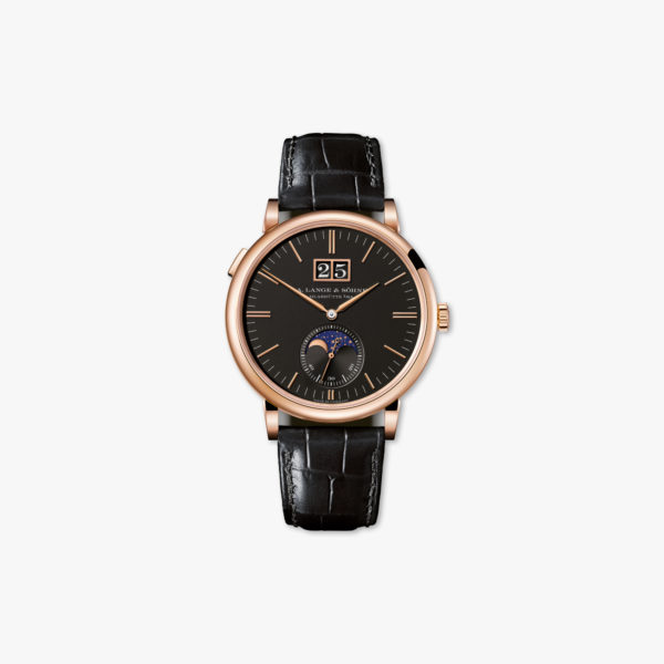 Watch Lange Sohne Saxonia Moon Phase 384 031 Rose Gold Black Maison De Greef 1848