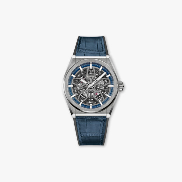 Watch Zenith Defy Classic Elite 95 9000 670 78 R584 Titanium Leather Blue Openworked Maison De Greef 1848