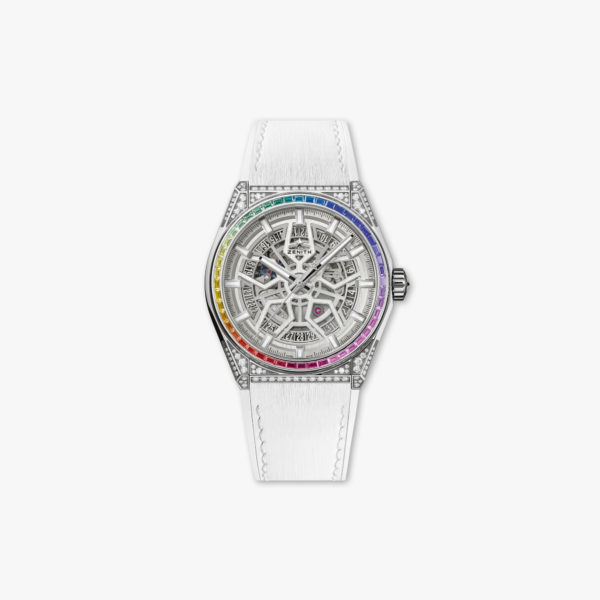 Defy Classic Rainbow in brushed stainless steel set with diamonds an sapphires