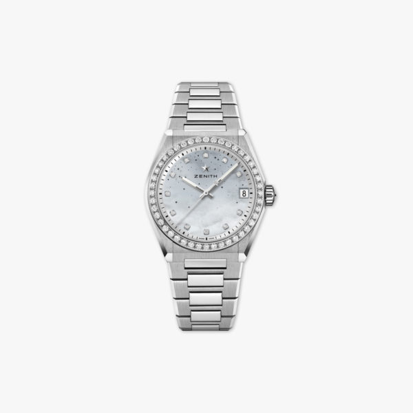 Defy Midnight in stainless steel set with diamonds